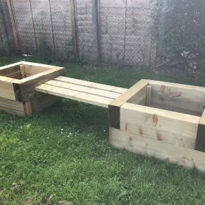 Wooden Double Sleeper Planters And Bench