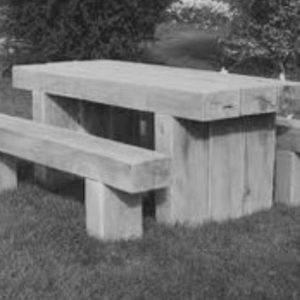 Wooden Sleeper Table In Black And White