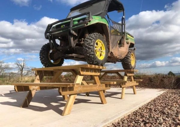 Vehicle On Wooden Picnic Bench