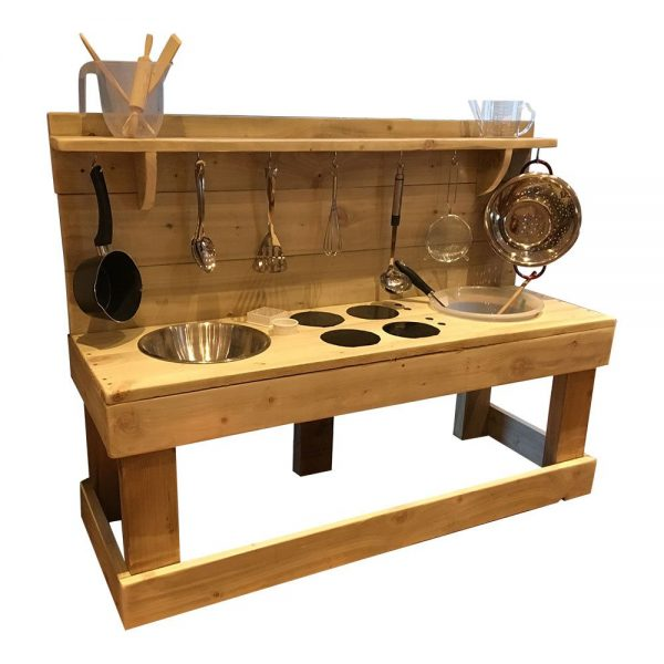 Wooden Triple Trouble Mud Kitchen With Utilises