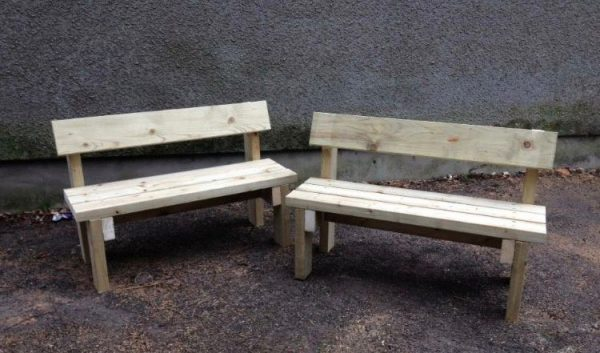 2 Wooden Yard Benches