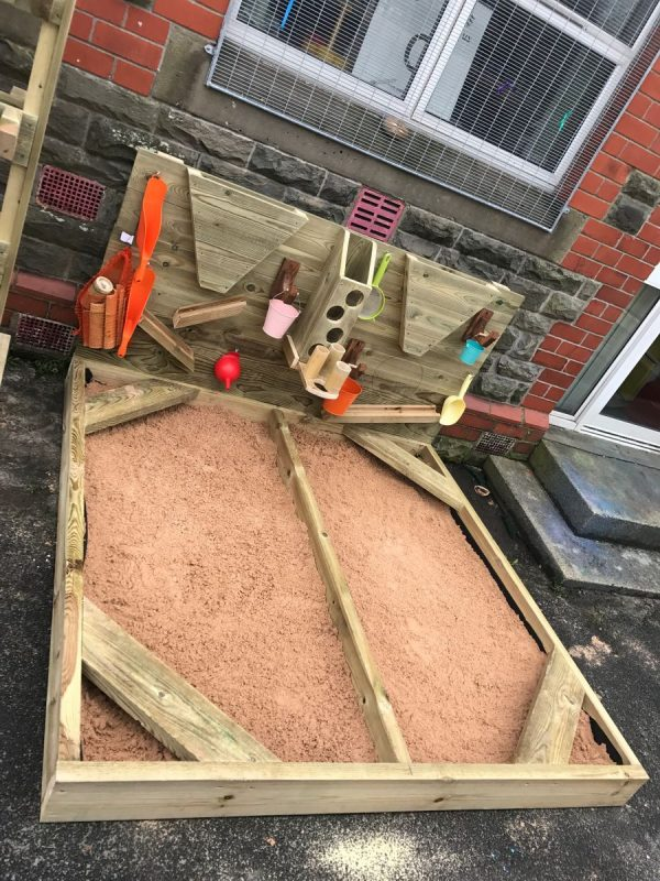 Wooden Sandpit And Activity Wall