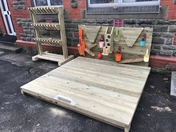 Closed Wooden Sandpit And Activity Wall