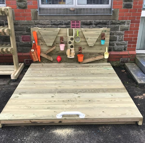Wooden Sandpit With Cover And Activity Wall