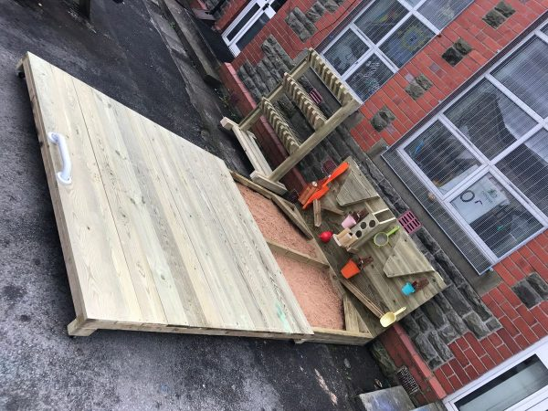 Wooden Sandpit And Cover In Playground
