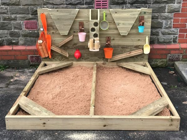 Close Up Image Of Wooden Sandpit In Playground