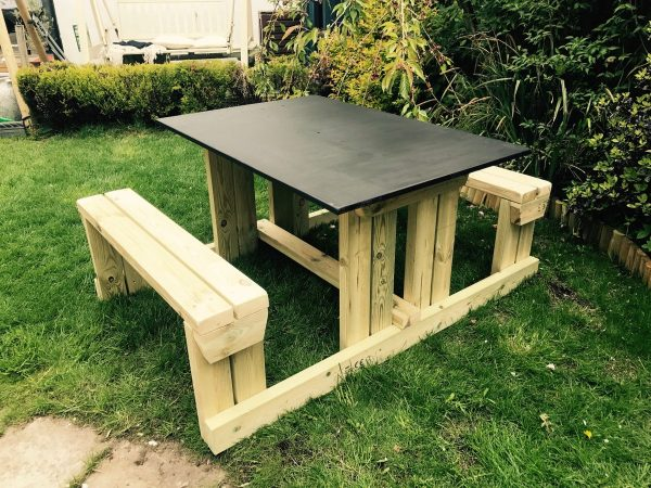 Chalk Board Wooden Picnic Table In Garden