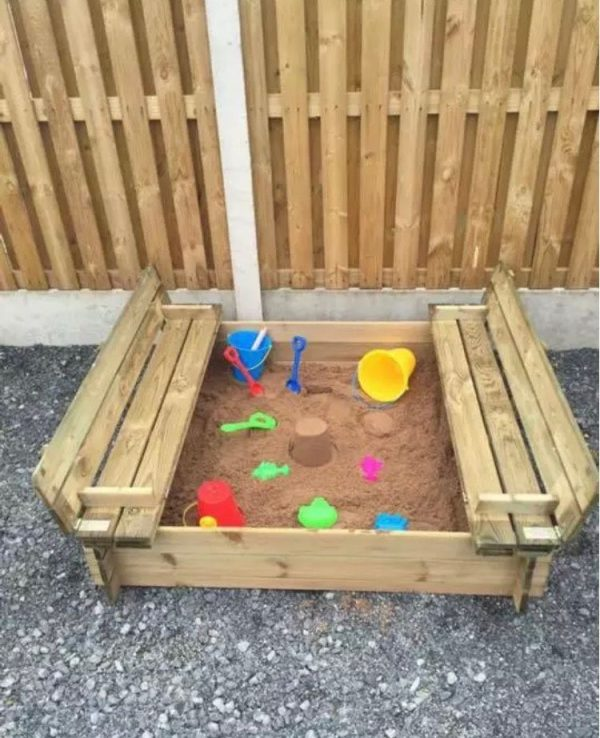 Small Wooden Sandpit With Folding Lid Seats