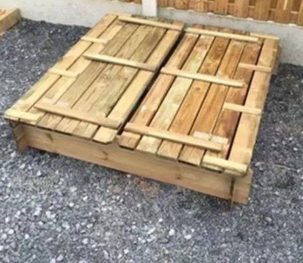Wooden Sandpit With Folding Lid Closed