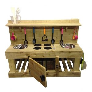 Wooden Mud Kitchen With Door Open