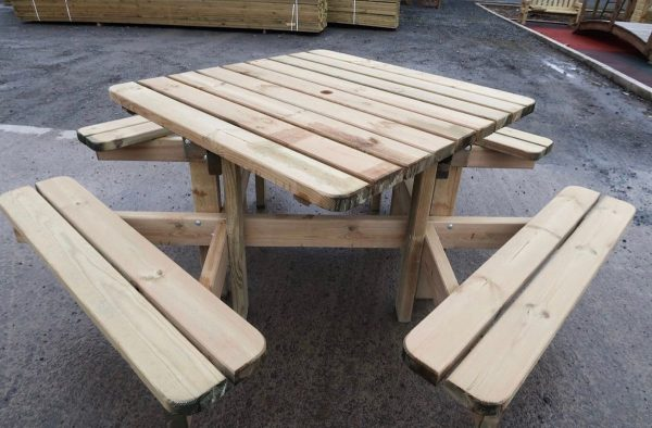 Wooden Picnic Table In Playground