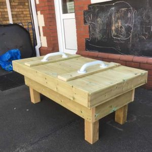 Wooden Table With Lid And Handles