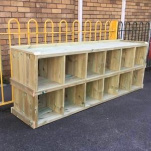Wooden Outdoor Storage In A Playground