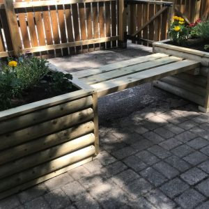 Wooden Rustic Log Planters And Bench