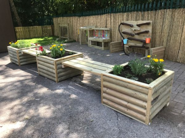 Rustic Log Planters And Bench