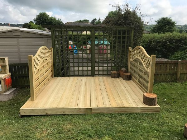 Wooden Stage On Grass