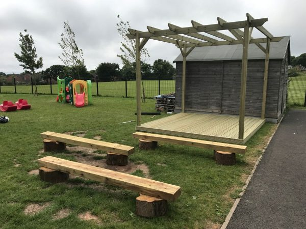 Bespoke Wooden Stage With Benches