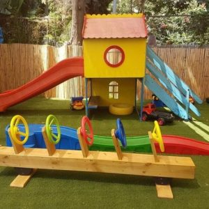 Role Play Line Rider And Wooden Playhouse