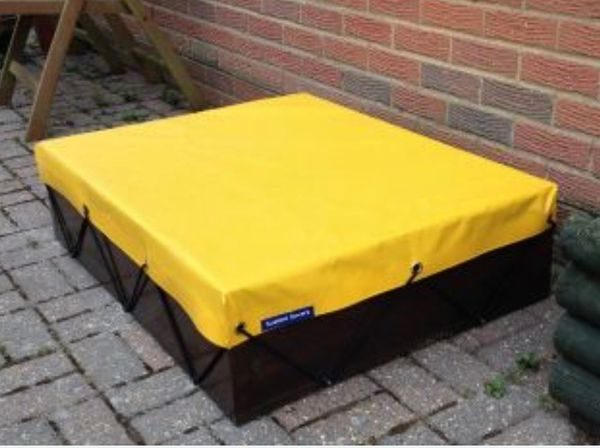 Sandpit With Yellow UPVC Cover