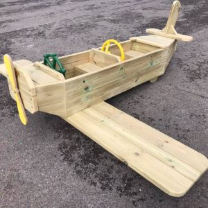 Side View Of Wooden Plane For Kids