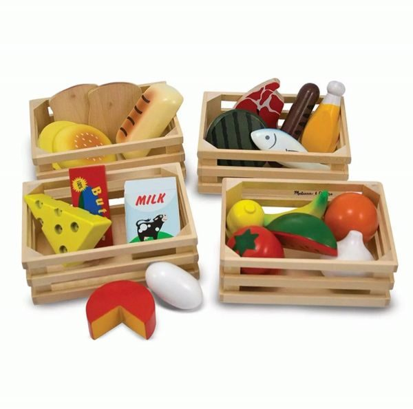 Wooden Food Toys In Baskets