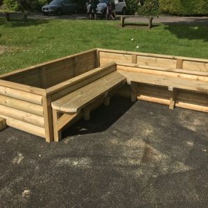 Wooden Corner Planter And Seating