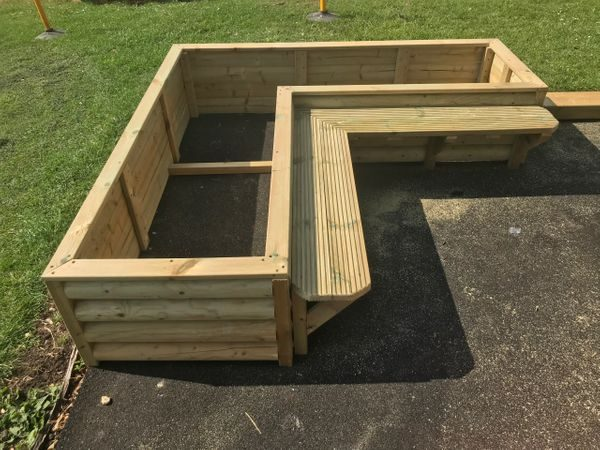 Wooden Seating And Planter