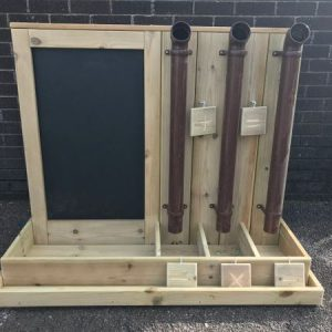 Brown Posting Pipes With Chalkboard