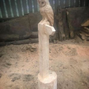 Hand Carved Wooden Owl Signpost
