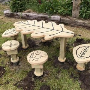 Nature Themed Stools And Table Set