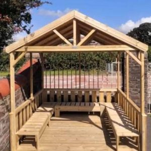 Outdoor Wooden Open Gazebo With Seating