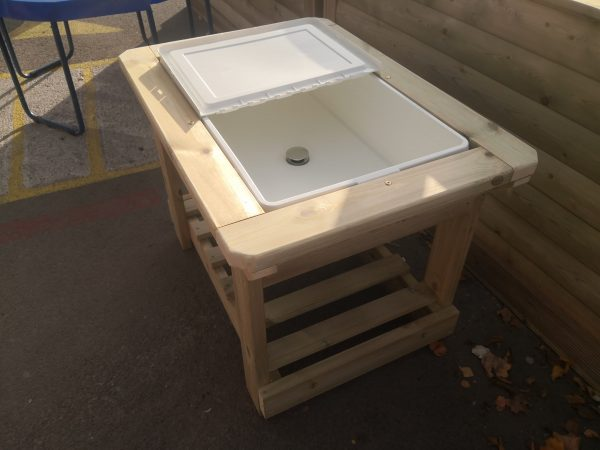 Outside Wooden Water Table With Lid Open