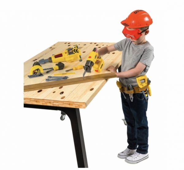 Kid Playing With Toy Wood Tools