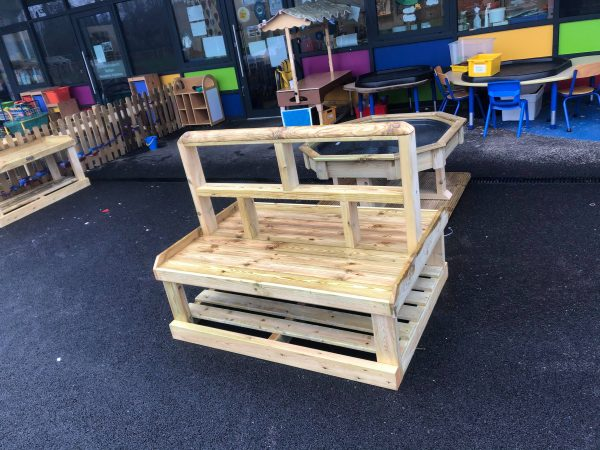 Outdoor Wooden Seating In Playground