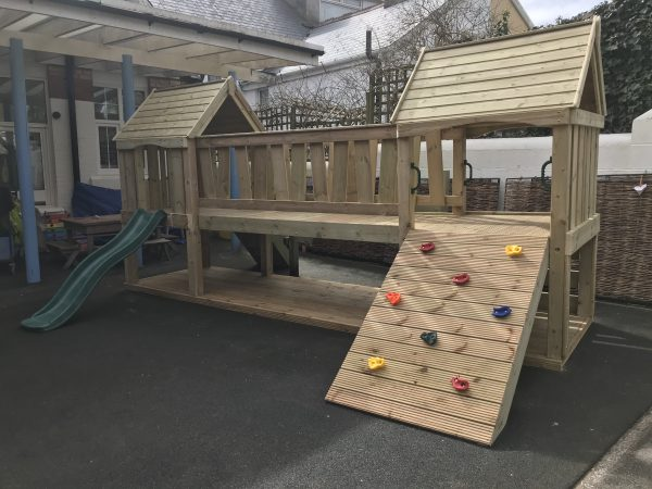 Wooden Play Area With Slide