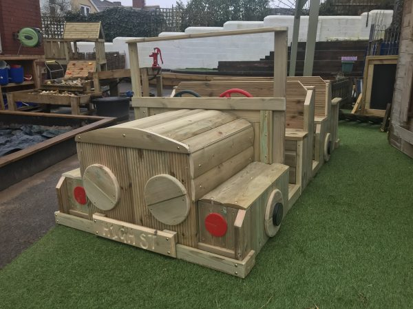 Front View Of Wooden Car Seating For Kids