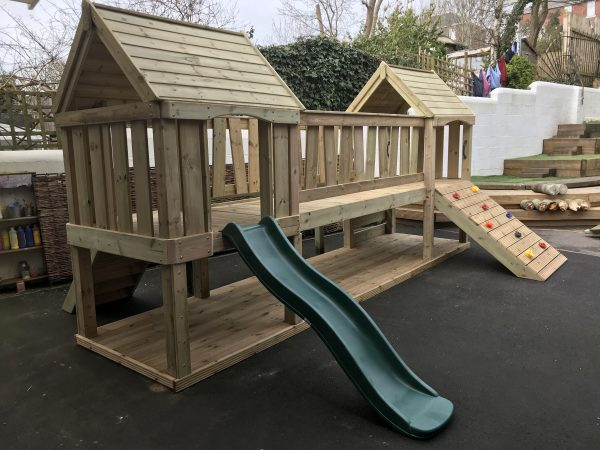 Wooden Climbing Frame With Wall And Slide