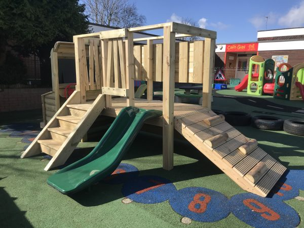 Wooden Playhouse With Steps And A Slide