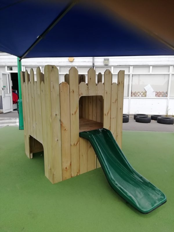Wooden Playhouse With Green Slide