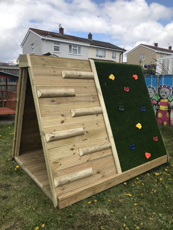 Climbing Wall With Wooden Steps