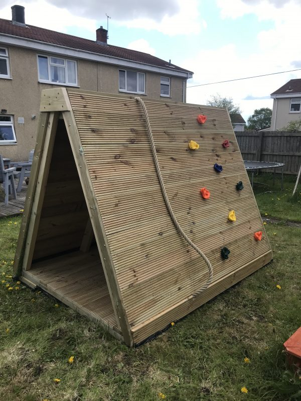 Wooden Climbing Wall With Rope